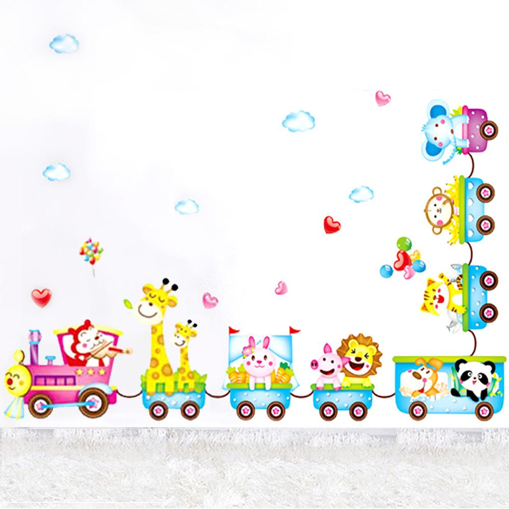 B-002童趣生活系列-動物小火車 大尺寸高級創意壁貼 / 牆貼
