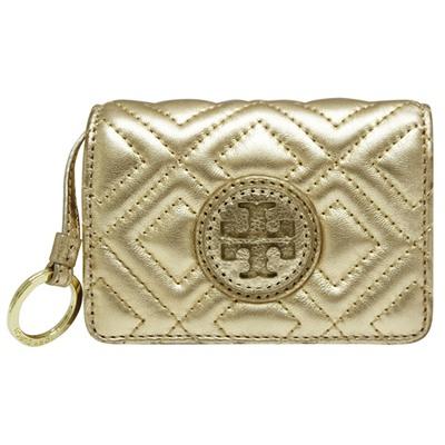 TORY BURCH 菱格紋牛皮扣式零錢包-金色