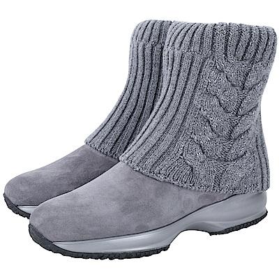 HOGAN INTERACTIVE 灰色反摺針織羊毛襪靴(灰色)
