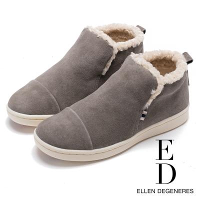 ED Ellen DeGeneres 溫暖麂皮平底低筒靴-絨灰