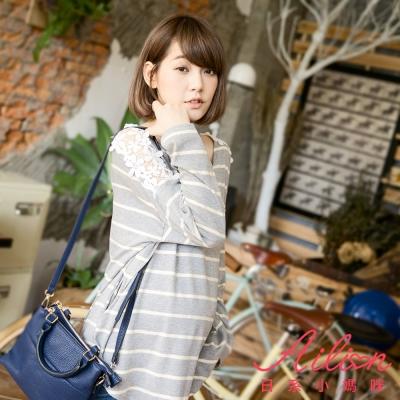 日系小媽咪孕婦裝-台灣製孕婦裝-鏤空肩蕾絲條紋上衣-共三色