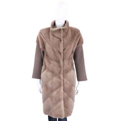 GRANDI furs 駝色針織拼接立領皮草大衣(70%WOOL)