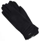 Chloe 抓皺造型刺繡LOGO喀什米爾手套(黑色)