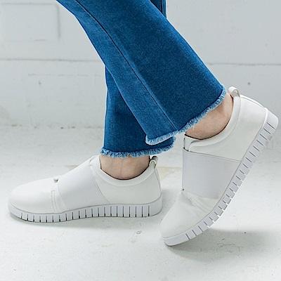 台灣製造.撞色織帶拼接休閒仿皮革懶人鞋.4色-OB大尺碼