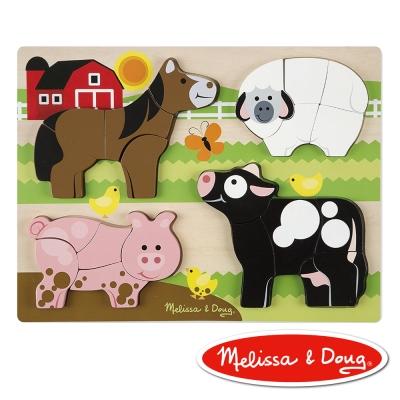 美國瑪莉莎 Melissa & Doug 厚塊拼圖-農場動物
