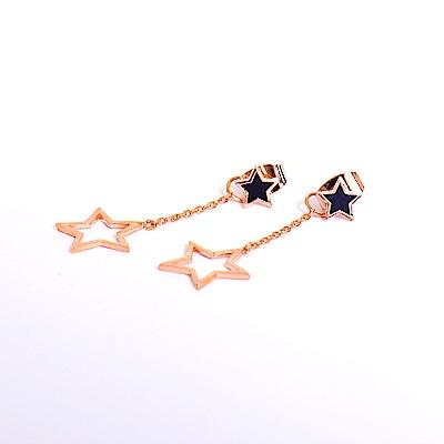 微醺禮物 正韓 925銀針 鍍K金 黑色金邊星星 垂墜鏤空星星 可愛 耳針 耳環