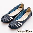 River&Moon涼鞋-異國皮革簍空洞洞露趾平底涼鞋-寶藍