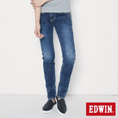 EDWIN BT女窄直筒牛仔褲-女-石洗綠