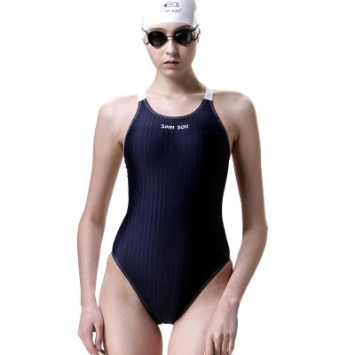 泳裝 連身式 素面高叉連身專業女泳裝 聖手牌