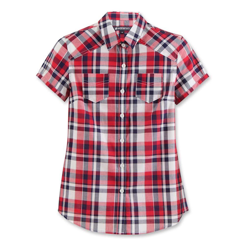 Hang Ten - 女裝 - 休閒府綢格紋襯衫 - 紅