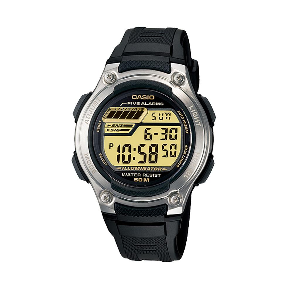 CASIO 兩地時間元氣休閒數字錶(W-212H-9A)-黃面
