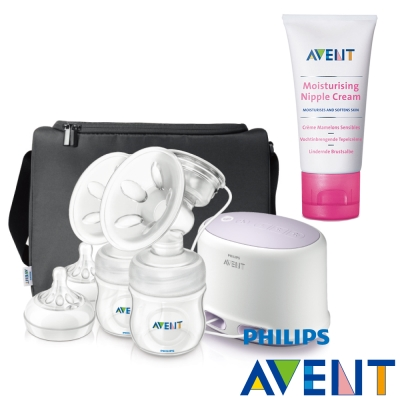 [下殺59折]PHILIPS AVENT輕乳感專業型雙邊電動吸乳器+乳頭舒緩修護霜(30ml)