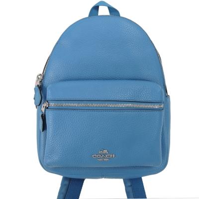 COACH 經典馬車LOGO皮革前口袋後背包(小/天藍)