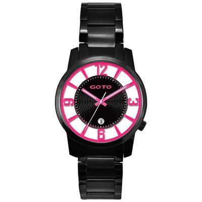 GOTO 多層次雙鏤空腕錶-桃紅x黑/43mm