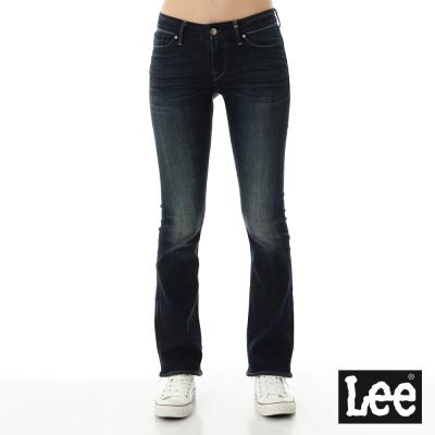 Lee 牛仔褲超低腰合身刷白小喇叭-女款-深藍