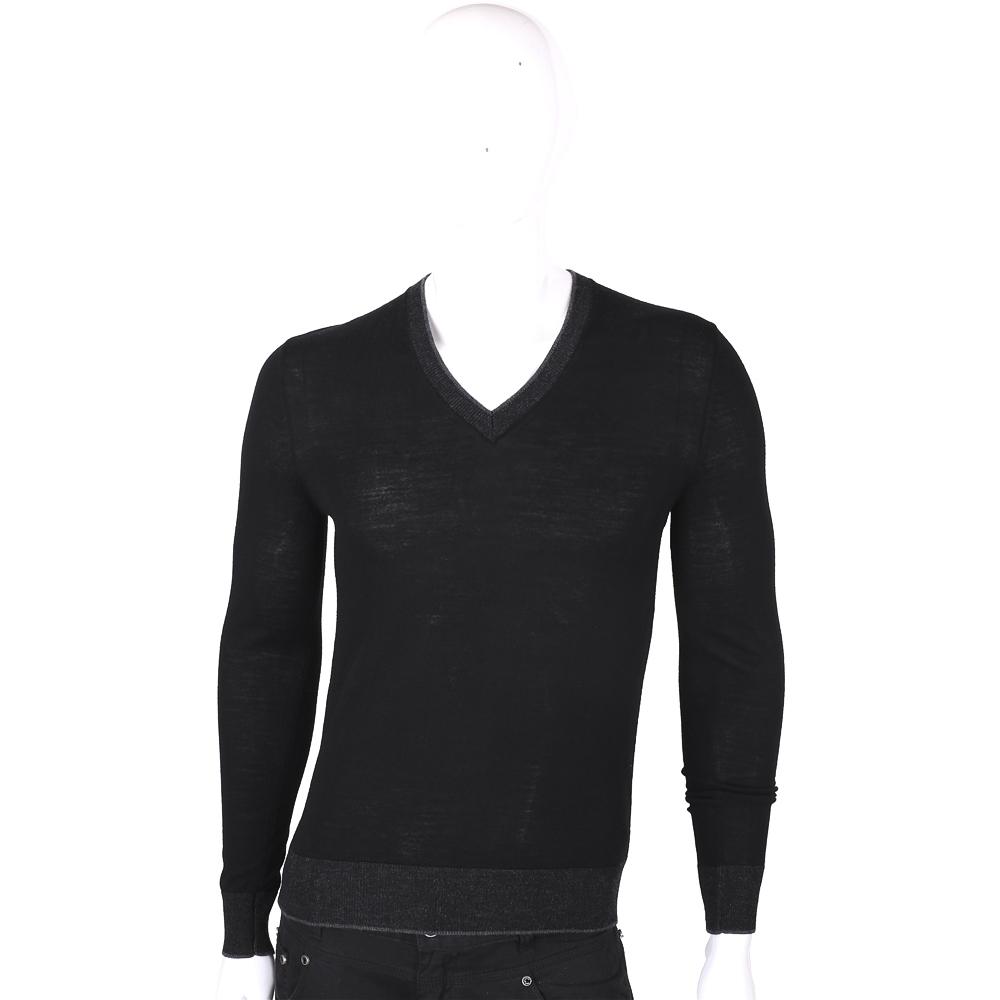 Michael Kors 黑色美麗諾羊毛V領長袖上衣(男款)