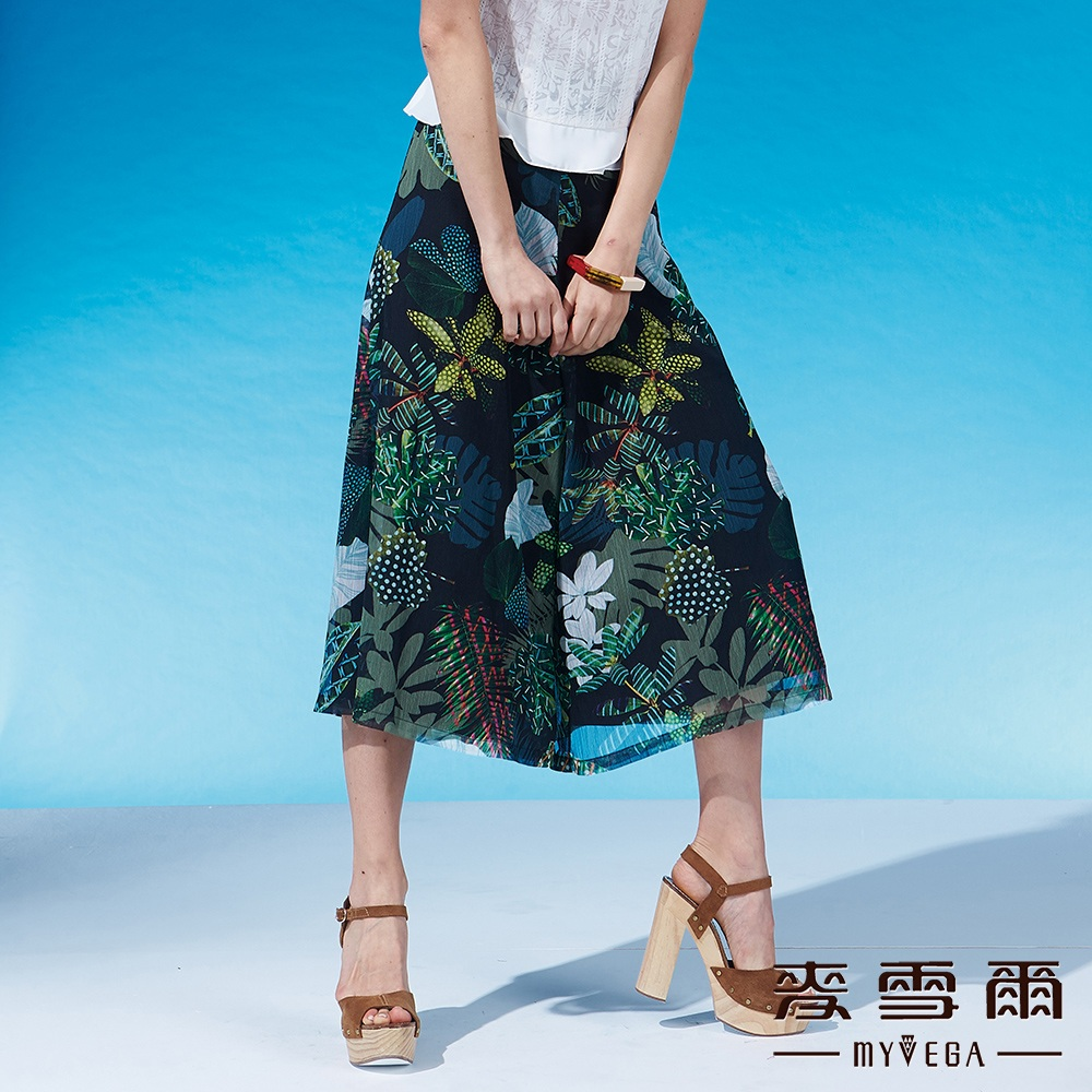 麥雪爾 印花薄紗雙層寬褲
