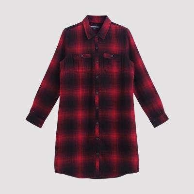 Hang Ten - 女裝 - 變化格紋襯衫洋裝 - 紅
