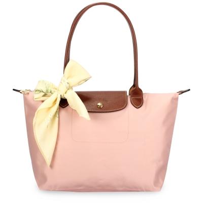 Longchamp 折疊小型水餃包(長提把/玫瑰粉)-加贈帕巾