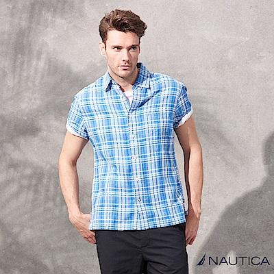 Nautica棉麻涼爽感短袖格紋襯衫-藍白