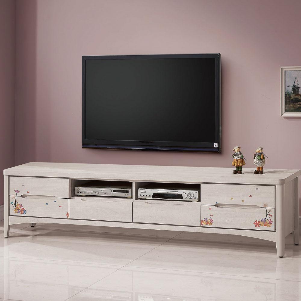 品家居 溫格7尺彩繪六抽長櫃/電視櫃