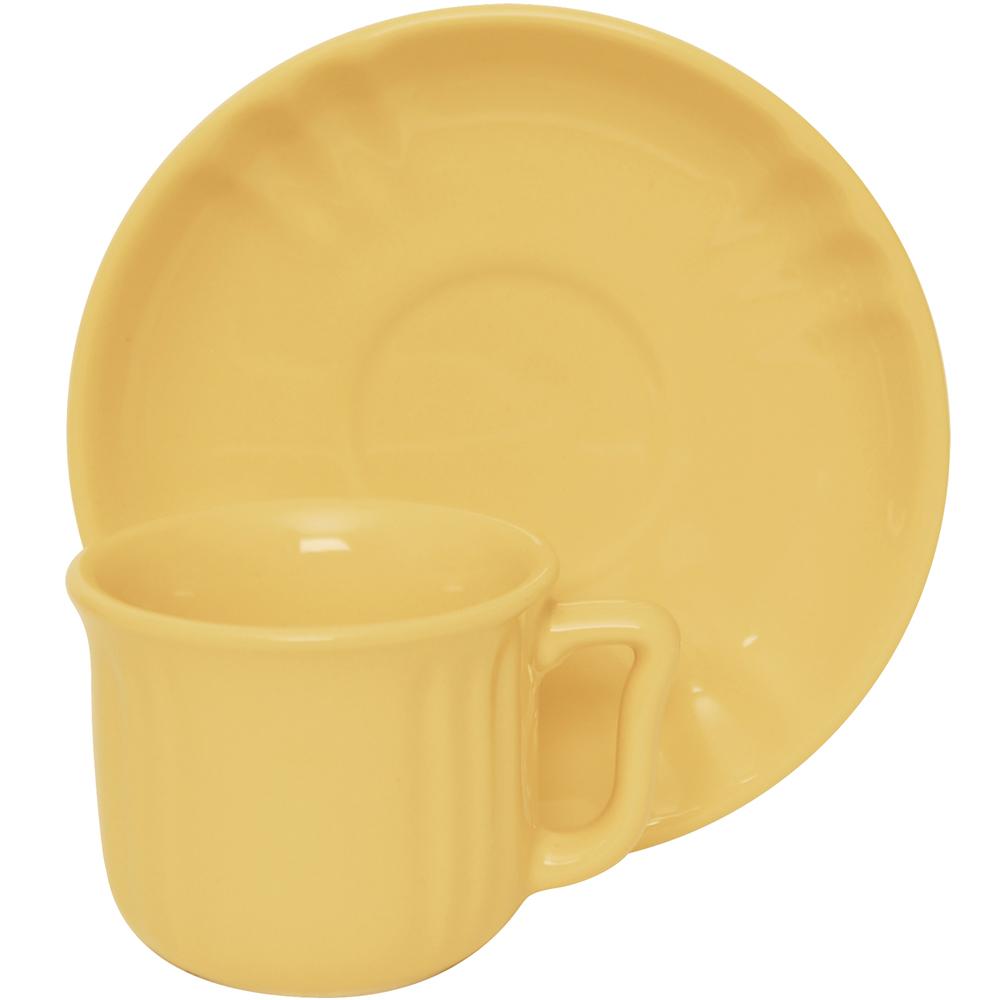EXCELSA Chic陶製咖啡杯碟組(奶油黃90ml)