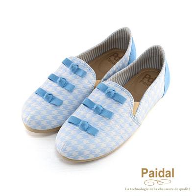 paidal 千鳥格紋懶人鞋樂福鞋-親子款大童可穿-藍色