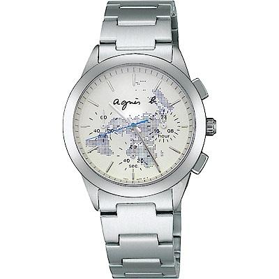 agnes b. 全球旅行世界地圖三眼計時中性錶(BWY059P1)-藍/37mm