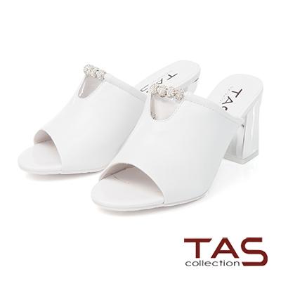 TAS串連水鑽幾何寶石高跟涼拖鞋-輕盈白