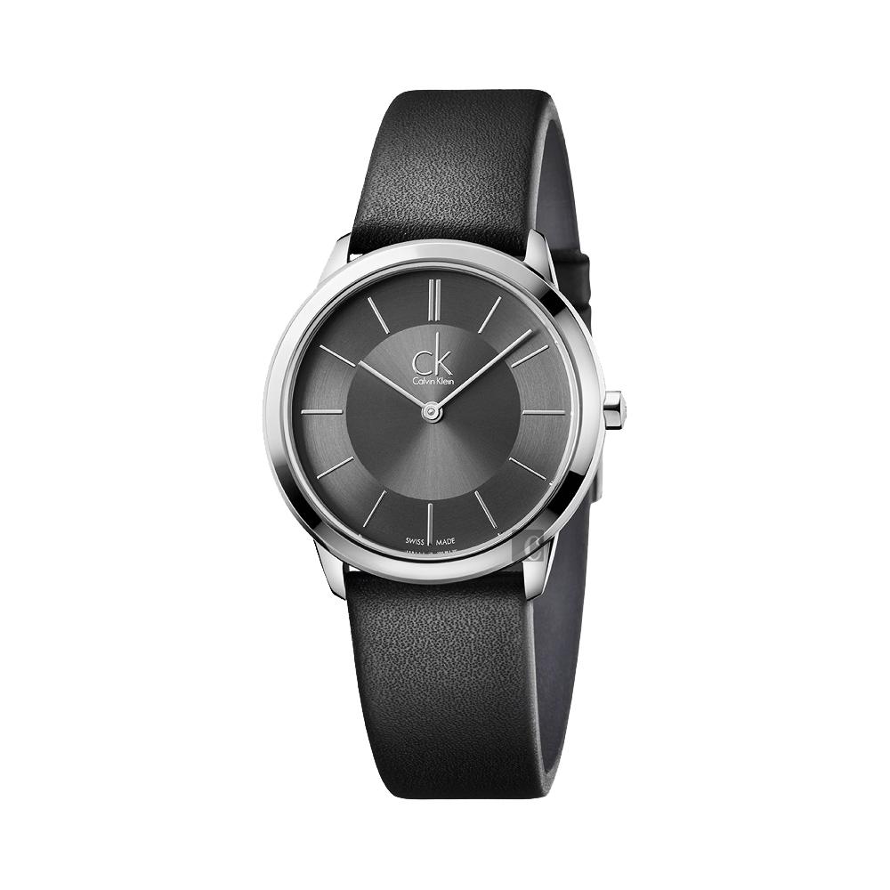 Calvin Klein CK Minimal 極簡都會女錶-灰x黑/35mm