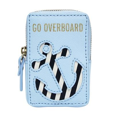 Kate spade overboard 拼接條紋船錨防刮牛皮拉鍊零錢包-藍色