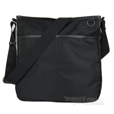 agnes b 雙口袋方形斜背包(大/黑)