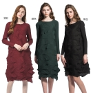 奢華花辮壓折長袖洋裝(共三色)-玩美衣櫃
