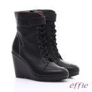 effie 保暖靴系列 絨面牛皮魔鬼氈奈米楔型短靴 黑