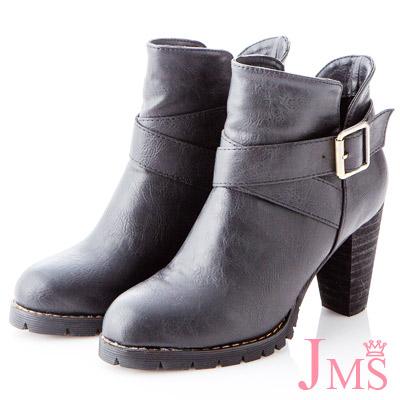 ☆JMS☆纖腿美型交叉扣環高跟短靴-黑