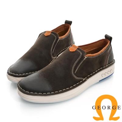 GEORGE-經典素面真皮懶人休閒鞋-灰色