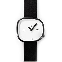 NAVA DESIGN 經典淬鍊石頭造型腕錶-白x黑色錶帶/42mm