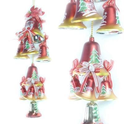 聖誕浪漫彩繪鐘串(紅金色系)