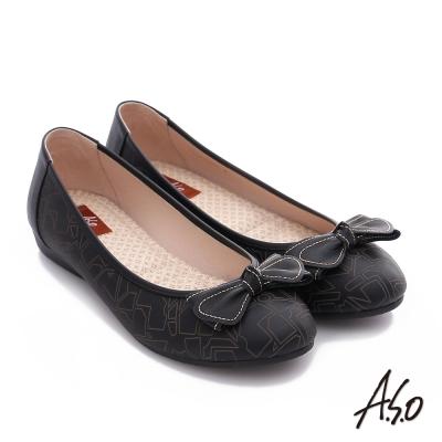 A.S.O 樂福氣墊鞋 全真皮蝴蝶結奈米氣墊鞋 黑