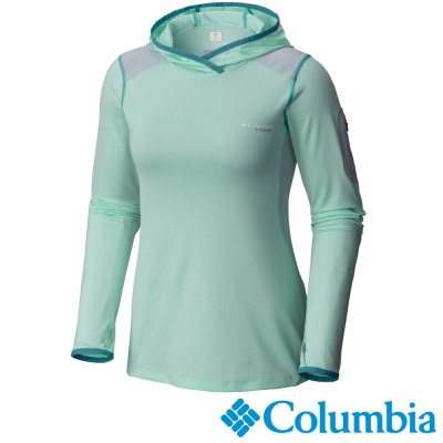 【Columbia哥倫比亞】女-鈦 酷涼快排長袖連帽上衣-綠 UAL19240HM