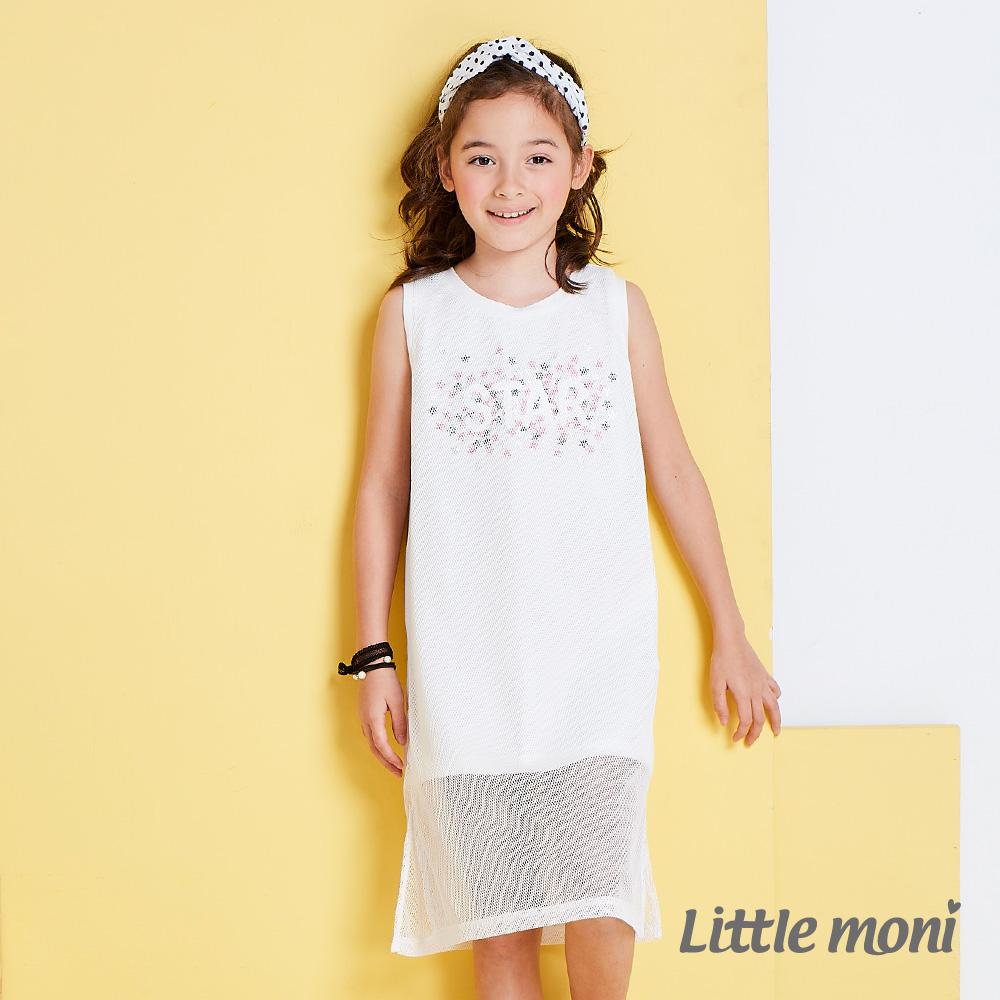 Little moni 夏日搖滾網紗假二件背心洋裝  白色