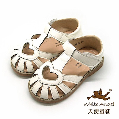 天使童鞋 簡約愛心護趾涼鞋 i 059 -白