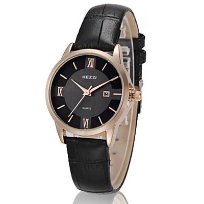 KEZZI 大盤面羅馬數字鱷魚皮錶帶女錶-黑 FFQ-788
