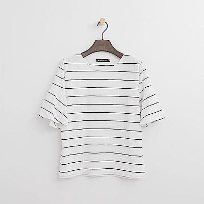 Hang Ten - 女裝 - 條紋荷葉袖T恤-白色