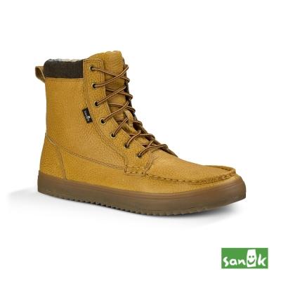 SANUK 皮革內格紋中筒靴-男款(土黃色)