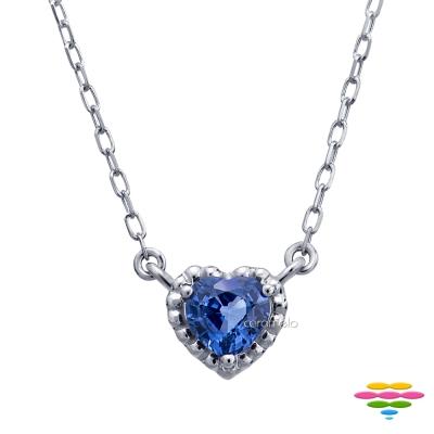 彩糖鑽工坊 14K 愛心藍寶石項鍊 小確幸系列