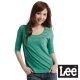 【Lee】V領橫條紋5分袖T恤-女款(綠)