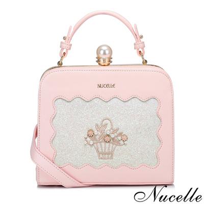NUCELLE 花漾年華珍珠釦小方包 柔嫩粉