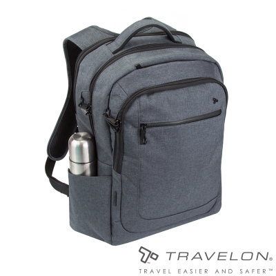 Travelon美國防盜包 RFID防割鋼網素面質感後背包 TL-43105-16 暗灰