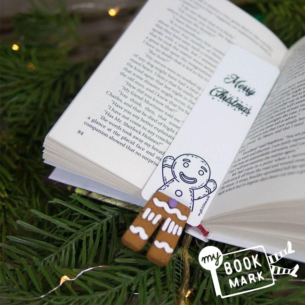 禮物myBookmark手工書籤-愛玩躲貓貓的薑餅人